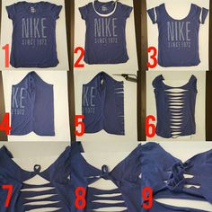 Do you have old, boxy t-shirts you'd wear to exercise in if they only had a more flattering fit? This easy, no-sew tutorial . Do you have old, boxy t-shirts you'd wear to exercise in if they only had a more flattering fit? This easy, no-sew tutorial . Diy Cut Shirts, Umgestaltete Shirts, T Shirt Diy, Cutting T Shirts, Band Shirts, Diy Tshirt Ideas, Sewing Shirts, Shirt Blouses, Diy Clothes Refashion