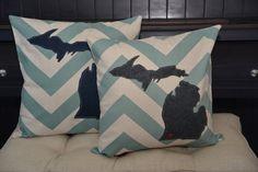 Aqua Chevron Michigan Pillow Cover Any state by HomeSweetMichigan