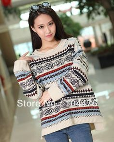 Free shipping lady's sweaters fashion women sweater vintage o-neck long-sleeve loose knitted sweaters christmas sweaters $21.00