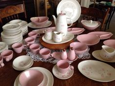 Tickled Pink Metlox Vernon Ware California Pottery 96 Piece Set by CuriousDiscoveries on Etsy