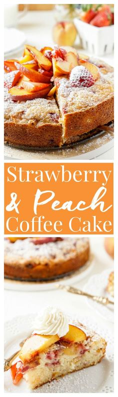 This Strawberry & Peach Coffee Cake is a mix of ripe fruit and sweet cake that's sure to add a pop of flavor to the breakfast table!