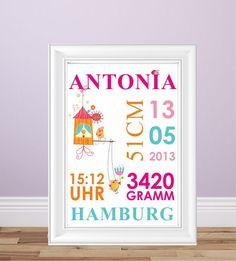 Posterdruck, Poster, Poster mit eigenen Daten, persönliche Daten, Babyzimmer, Kinderzimmer, Geschenk zur Geburt, Mädchenposter, Poster für Mädchen, Mädchenfarben