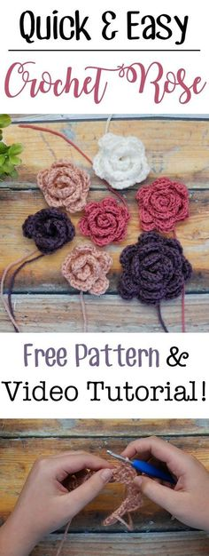Crochet Flowers Easy Make these easy crochet roses in any size with this free pattern and video tutorial! They use only beginner friendly basic stitches and work up really quickly Crochet Motifs, Crochet Roses, Crochet Flower Patterns, Knitted Flowers, Crochet Ideas, Crochet Gifts, Crochet Yarn, Free Crochet, Crochet Simple