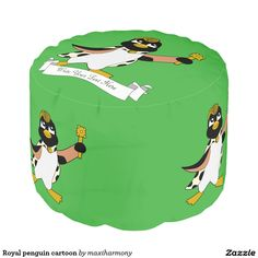 Royal penguin cartoon round pouf