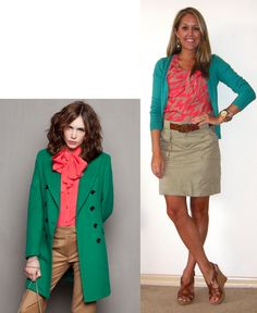 Love coral and turquoise together!  Plus, khaki is the perfect neutral for this outfit.