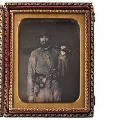 Fine Quarter Plate Daguerreotype of Nathaniel Miller, California Pioneer, Armed and Dressed in Fringed Buckskin Jacket