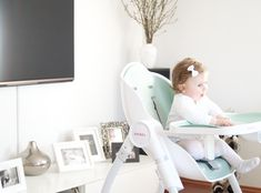 The Complete high chair, Cocoon, transforms from a comfortable recliner to an early feeding modern high chair.