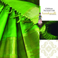 Green, the colour of mother nature portrays harmonious balance in life. The evergreen betel leaves, used during Navaratri remind us of the importance of this refreshing colour. Wear green to be one with the festive spirit.