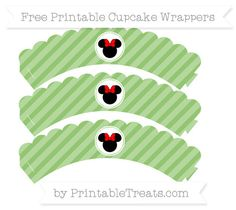 Free Pistachio Green Diagonal Striped  Minnie Mouse Scalloped Cupcake Wrappers