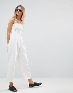 ASOS Denim Jumpsuit With Corset Detail in Off White