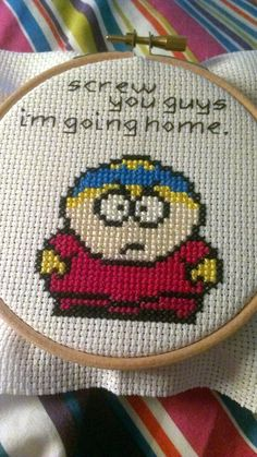 Cartman South Park cross stitch via reddit