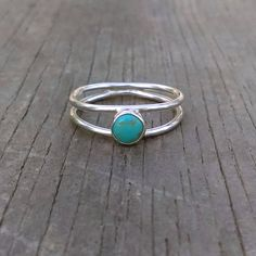 Double Ring, Double Band Turquoise Ring, Sterling Silver Ring, Silver Band, Stacking Ring, Turquoise Ring, Statement Ring, Rustic Boho by EarthSpiritSilver on Etsy