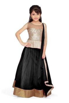New arrival designer Black net kids partywear lehenga choli(28 inches) - Semi Stitched