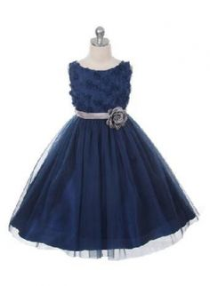 Flower Girl Dress Style 278 - NAVY Sleeveless Tulle Dress with Mesh Rolled Flower