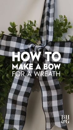 How to Make a Bow for a Wreath in 3 Easy Steps - - It's easier than you think to tie a bow for a wreath. We'll show you how to tie the perfect bow and add it to your wreath in three easy steps. Diy Bow, Diy Ribbon, Ribbon Bows, Crafts With Ribbon, Mesh Ribbon Wreaths, Door Wreaths, Ribbons, Diy Christmas Decorations, Christmas Bows