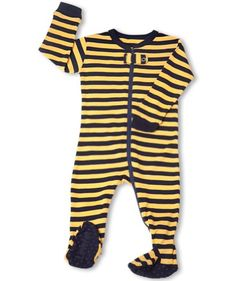 "Leveret Footed N ""Striped"" Pajama Sleeper 100% Cotton (Size 6M-5T) (12-18 Months, Navy & Yellow) - http://www.discoverbaby.com/maternity-clothes/sleepwear/leveret-footed-ny-striped-pajama-sleeper-100-cotton-size-6m-5t-12-18-months-navy-yellow/"
