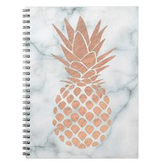 rose gold pineapple on marble notebook - diy Notebook Cover Design, Notebook Covers, Cute Spiral Notebooks, Cute Notebooks For School, Diy Notebook Cover For School, Rose Gold Notebook, Notebook Diy, Middle School Supplies, Diy School Supplies