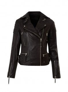 handmade women black Leather Jacket, women black biker Leather Jacket front pockets and belted collar
