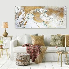 Gold Leaf Print WHITE and GOLD Art Abstract Painting XXL
