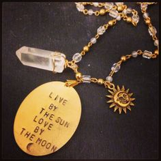 Hand Stamped Live by the sun luv by the moon charm by LuvByTheMoon, $38.00