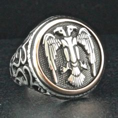 Sterling Silver Ottoman Ring for Men with by KaraJewelsTurkey, $51.10