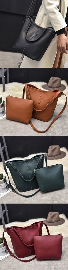 d1140c62d5ed Women 2PCS Stylish PU Leather Bucket Bags Shoulder Bags Handbags Leather Crossbody  Bag