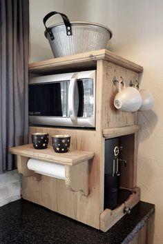Kleinmöbel für Kaffeemaschine + Mikrowelle Altholz Davos, Liquor Cabinet, Storage, Furniture, Home Decor, Microwave, Coffeemaker, Old Wood, Purse Storage