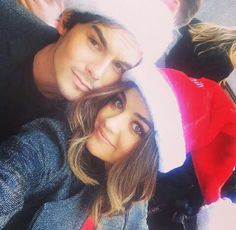 Lucy Hale and Tyler Blackburn attending ABC Family Winter Wonderland red carpet event.
