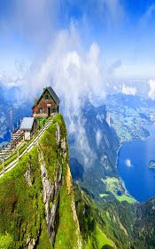 Nature Board: View from Schafberg mountain, Austria