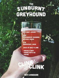 A strawberry mint twist on the classic greyhound // Wit & Vinegar