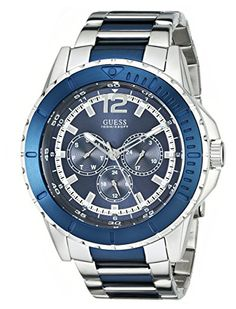 GUESS Men's U0478G2 Contemporary Silver-Tone & Blue Multi-Function Watch
