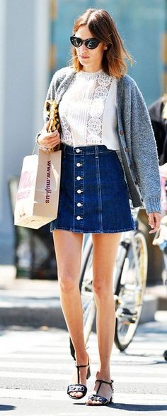 Denim Button-up A-skirt Streetstyle - so cute. Love the buttons.