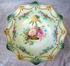 "RS Prussia 1900's ""Hanging Basket of Roses""  Bowl"
