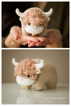 Crochet Chinese New Year Ox Amigurumi Free Pattern Easy Crochet Baby Hat, Crochet Cow, Crochet Bunny Pattern, Crochet Animal Patterns, Stuffed Animal Patterns, Crochet Patterns Amigurumi, Crochet Animals, Free Crochet, Crochet Stuffed Animals