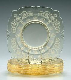 Heisey Empress Yellow Chintz Plates..NOTHING LIKE A MEAL ON BEAUTIFUL PLATES