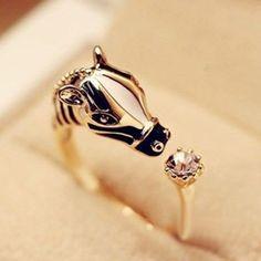 Bronze Adjustable Horse / Zebra Band Ring With Crystal Thumb Pony Donkey Gift Uk