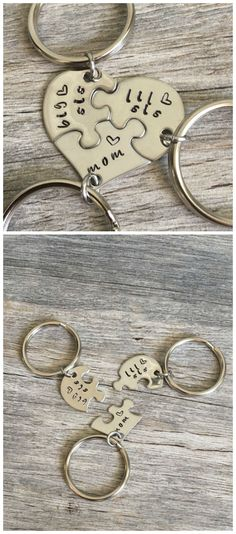 Gift For Mom, Gifts For Mom From Daughters, Mothers Day Gift, Personalized Mom Gift, Hand Stamped heart puzzle piece key chain set, mom. aff.
