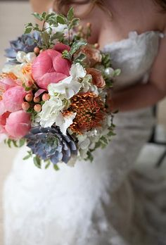 Mix succulents into a peony and rose bouquet | Brides.com