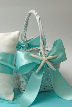 Beach Wedding Flower Girl Basket with by SeashellCollection, $30.00