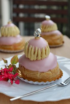 Religieuse: an adorable, frosted stack of cream puffs. Fancy Christmas dessert?