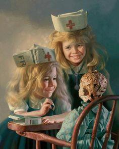 """Doll Hospital"", by American artist - Bob Byerley (1941 - ), Oil on board."
