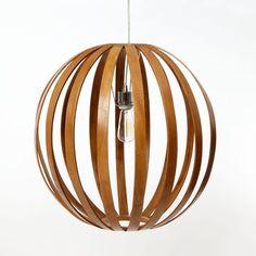 Bent Wood Pendant Round + 3-Wire Cord Set, Non-CFL