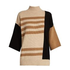 Max Mara Rubens sweater (43.205 RUB) ❤ liked on Polyvore featuring tops, sweaters, beige multi, slouchy sweater, color block tops, stripe top, beige sweater and slouch sweater