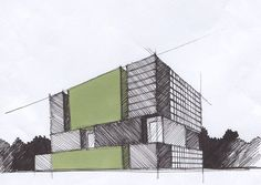 Architectural drawings vol. Architecture Drawing Sketchbooks, Sketchbook Drawings, Architecture Graphics, Architecture Design, Illustrations And Posters, Illustration Sketches, 2 Point Perspective Drawing, Plan Sketch, A Level Art