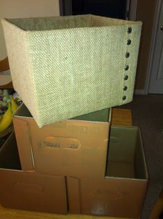 Diaper / Wipe boxes covered in burlap with decorative furniture tacks!