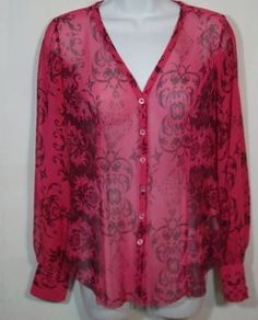 CAbi Shirt Top Blouse Sz Small Pink Artsy Print Sheer Button Front V-neck #254
