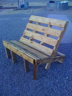 """Spent the day working on our pallet chair. It is really  more like a small bench. The project was quite easy. I think we did  the whole thing from beginning to end in less than four hours with  really no plan in place. The only thing we used besides a fancy pallet  was six bolts (+nuts and washers), a few feet of 1x4 to fill in some  gaps and a bunch of 3"""" screws."""
