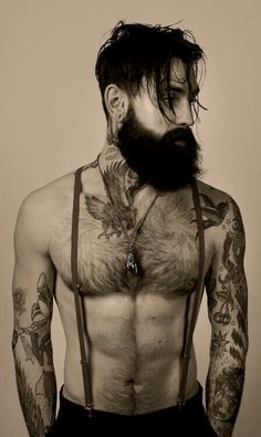 Not gonna lie. this man is so beautiful and sex Ricki Hall: beard, tattoos, suspenders Top Tattoos, Tattoos For Guys, Sexy Tattoos, Gypsy Tattoos, Hair Tattoos, Bart Tattoo, Tattoo Art, Deer Tattoo, Tattoo Pics