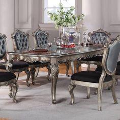 "Acme Chantelle Extendable Dining Table Size: 30"" H x 44"" L x 112"" W"
