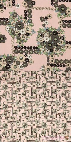 """peach fabric with flowers in black, dark taupe, off-white etc., Material: 100% cotton, Fabric Type: smooth cotton fabric, Pattern Repeat: ca. 30cm (11.8"""") #Cotton #Flower #Leaf #Plants #USAFabrics"""